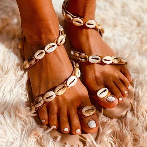 Women Large Size Beach Shell Design Flat Sandals
