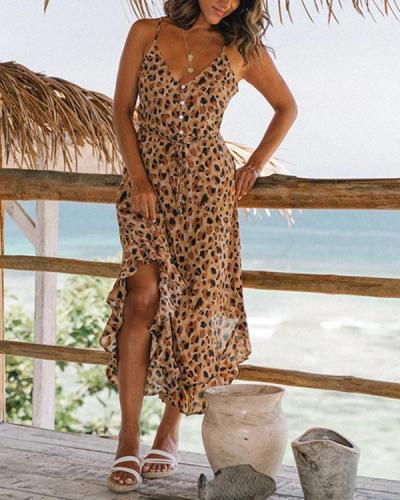 Irregular Leopard Print Lace Up Maxi Dress