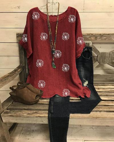 Summer Casual Printed Short Sleeve Big Round Neck Loose Top