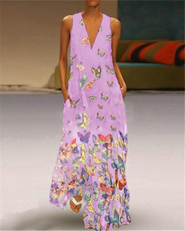 Vintage V Neck Summer Sleeveless Printed  Maxi Dresses