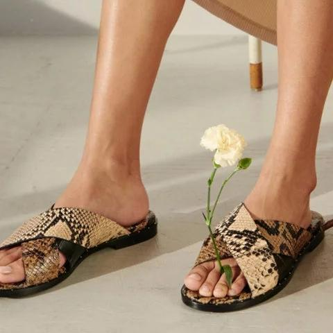 Summer Vintage Open Toe Slide Sandals