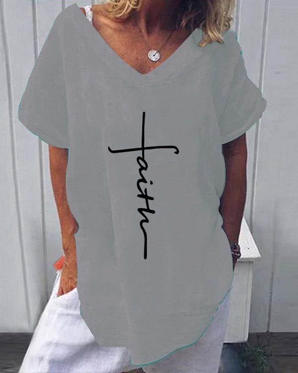 Summer Casual V-Neckline Print Short Sleeve Blouses