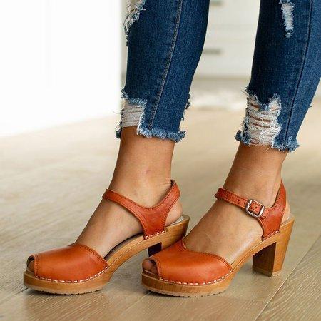 Orange Peep Toe Casual Sandals