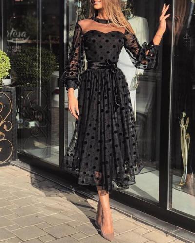 Polka Dot Tulle Maxi Dress
