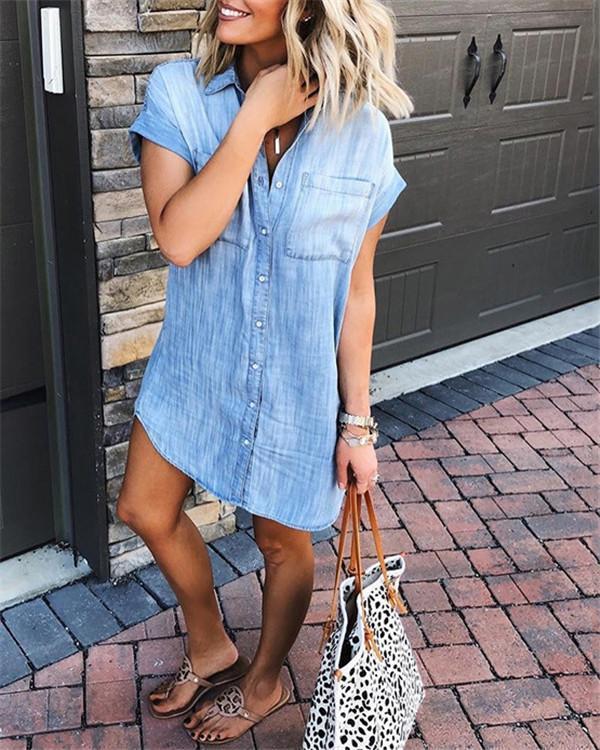 Women's Loose Denim Blouse Mini Dress Button Down Lapel Short Sleeve T-Shirt Tops with Pockets