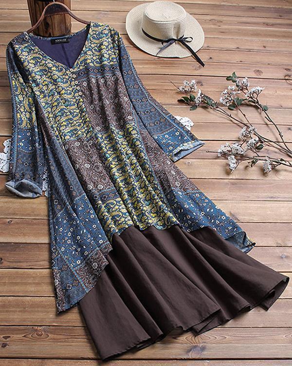Casual Plaid Peasant V-Neckline Shift Midi Dress
