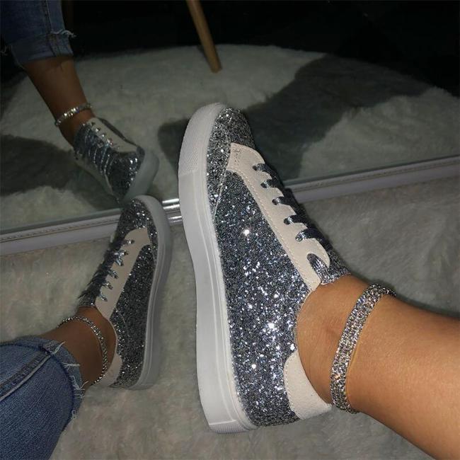 Women Large Size Sequin Flat Heel Sneakers