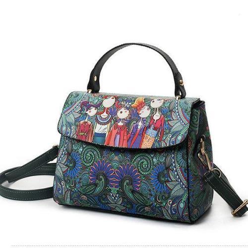 Bohemian Forest Green Cover Crossbody Bag PU Leather Handbag