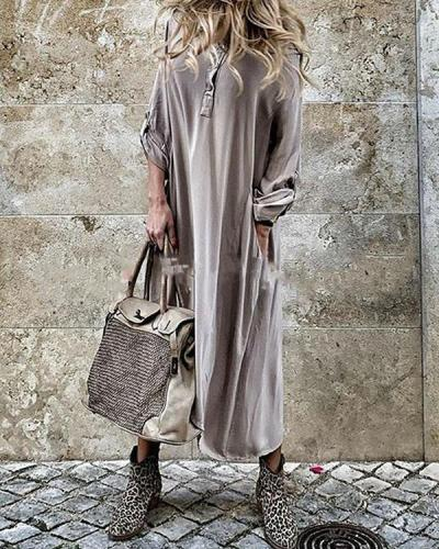 Channel Three Quarter Ankle Asymmetric Pure Color Asymmetrical Maxi Dress