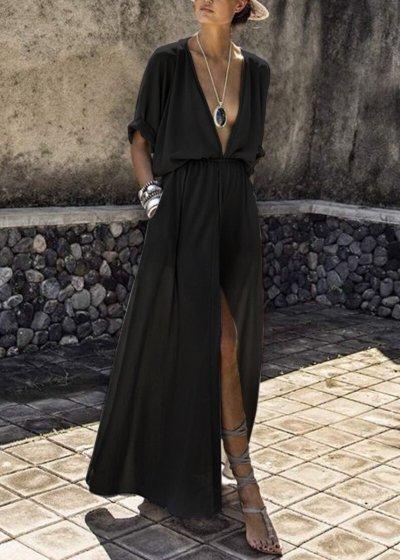 Deep V-neck Flowy Bohemian Party Maxi Dress