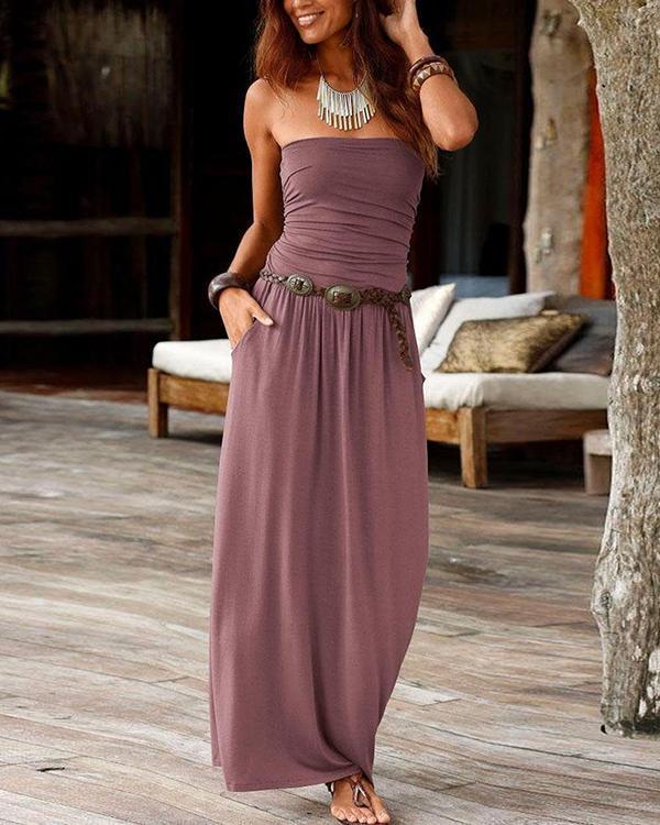 Strapless Solid Elegant Backless Maxi Dress