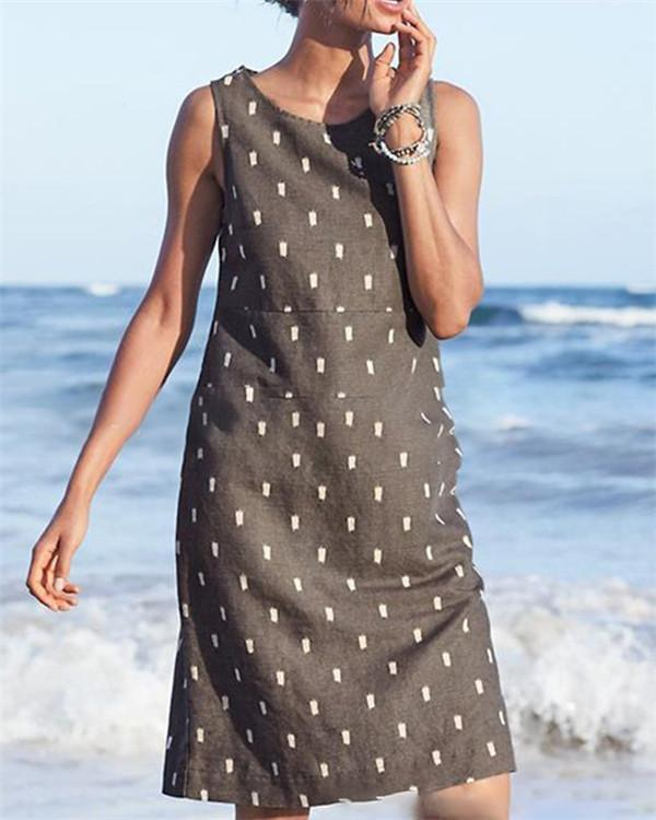 Sleeveless Printed Beach Holiday Daily Fashion Mini Dresses