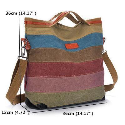 Color Striped Canvas Crossboby Shoulder Bag