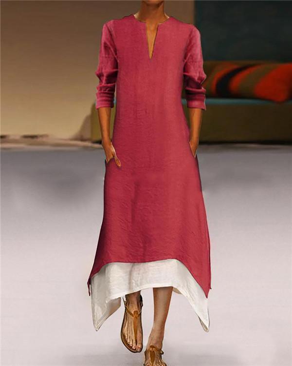 Vintage V Neck Summer Solid Long Sleeve Maxi Dresses