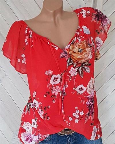 Casual Solid V Neck Floral Printed Women Tops
