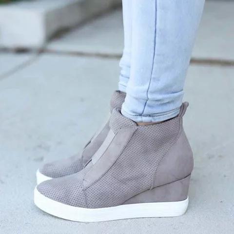 Comfort Zipper Wedge Sneakers Zipper Faux Suede Casual Sneakers