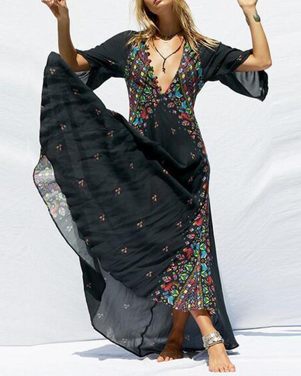 Boho Deep V-Neck Tribal Printed Maxi Dresses