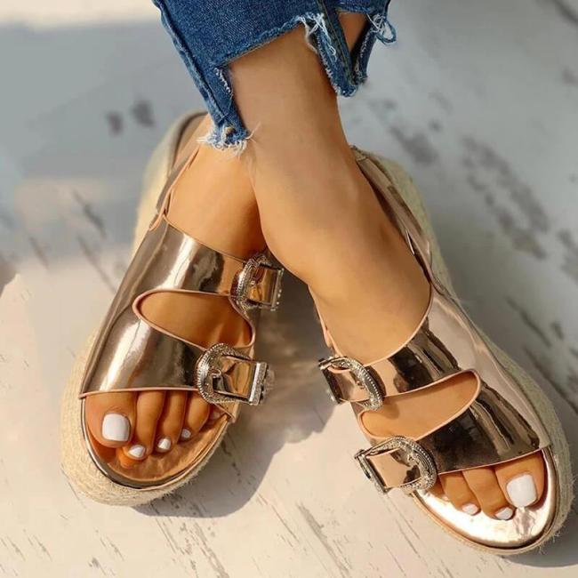 Women Buckle Strap Platform Sandals