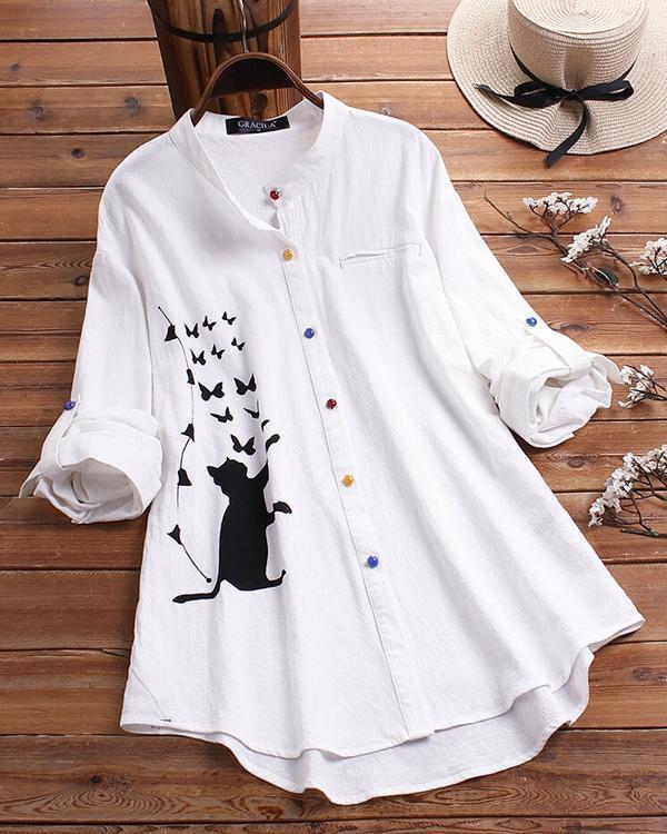 Cat Print Long Sleeve Blouse Colorful Button Shirt