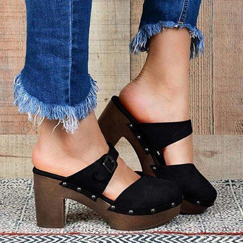 Leather Platform Shoes Sandals