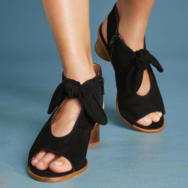 Elegant Bow Peep Toe Heels Zipper Chunky Heel Sandals
