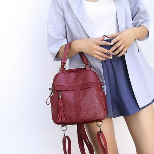 Soft Leather Handbag Travel Backpack