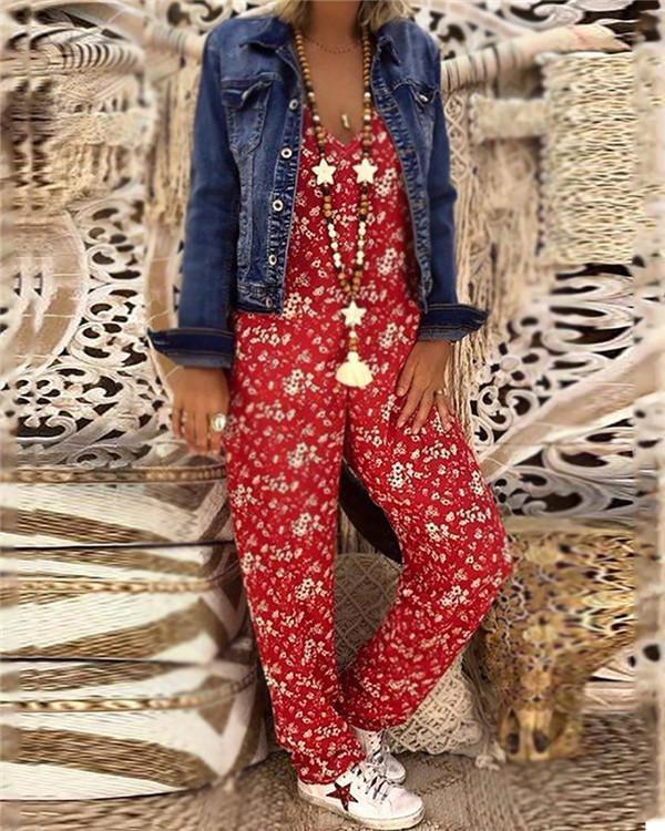Bohemian Printed Colour V Neck Bare Back Sleeveless Jumpsuit