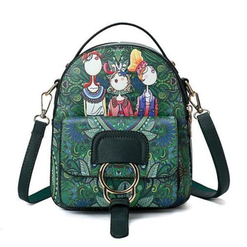 Bohemian Forest Cartoon Pattern Backpack Female Crossbody Bag