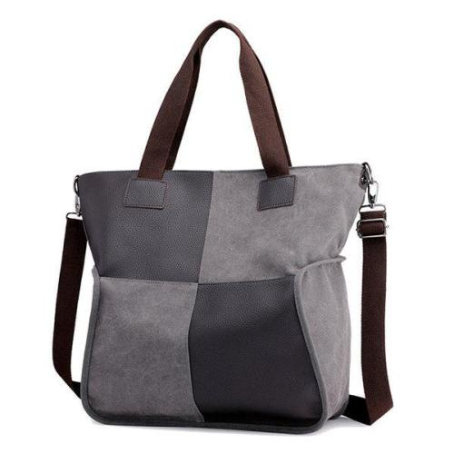 Canvas Casual Large Capacity Patchwork Handbag Crossbody Bag