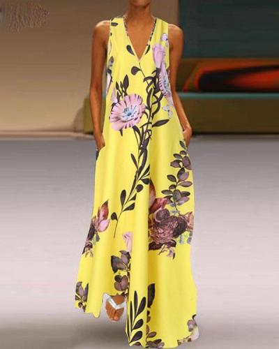Fashion Summer Sundress Women Long Maxi Vestidos Floral Printed Bohemian Maxi Dress