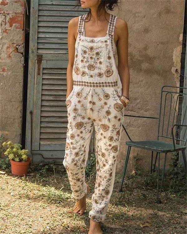 Casual Sleeveless Floral Jumpsuit