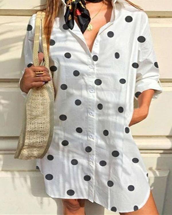 Polka Dots Print Long Sleeves Midi Dress