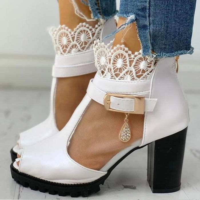 Women Fashion Lace Mesh Peep Toe Chunky Sandals