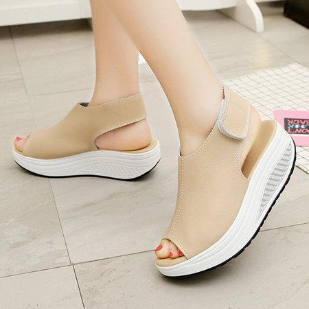 Casual Microfiber Leather Wedge Heel Magic Tape Sandals Shoes