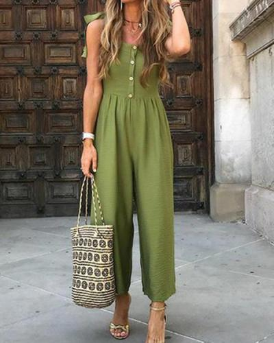 Bohemian Solid Color Button Sleeveless Jumpsuit