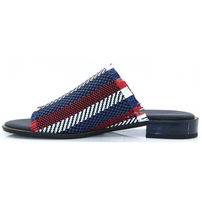 STRIPES LOW HEELS CASUAL SIMPLE SLIPPERS WOMEN SANDALS