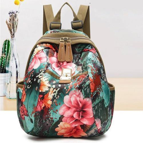 National Style Flower Pattern Nylon Shoulder Bag Backpack