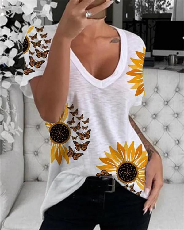 Paneled V-neck Sunflower Butterfly Casual T-shirt