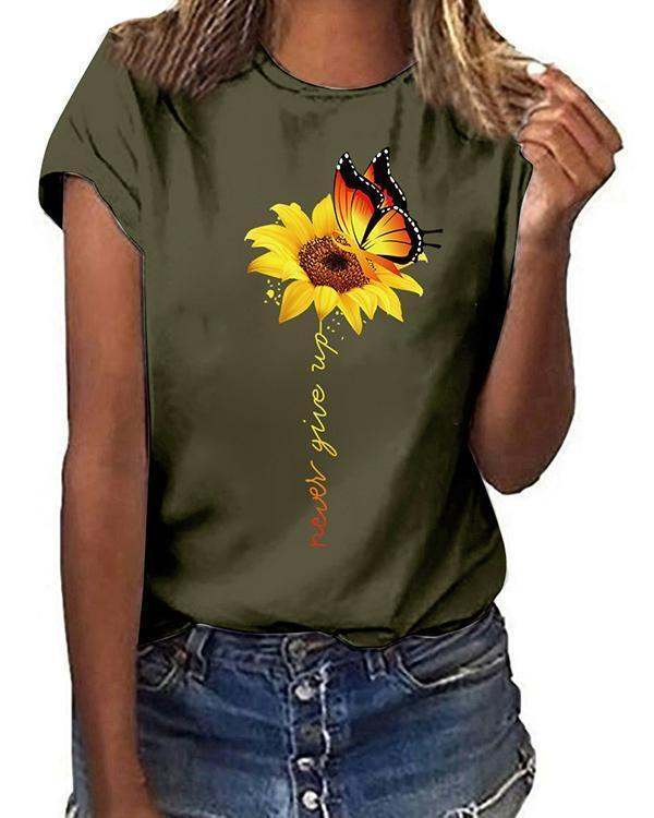 Printed Round Neck Cotton-Blend Short Sleeve Shirts & Tops