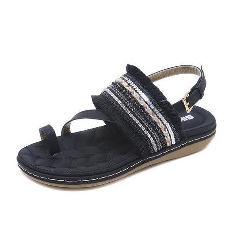Women PU Sandals Casual Elastic Band Shoes