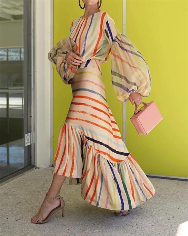 Fashion Colorful Stripe Stitched Lantern Sleeve Casual Dress