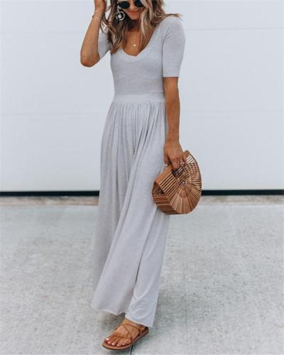 Solid Color Short Sleeve Wide Leg Jumpsuit