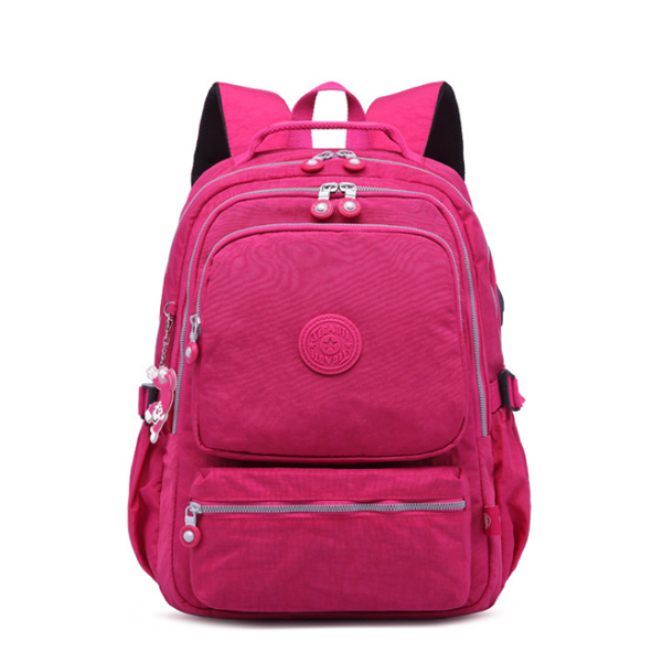 Nylon USB Rechargeable Backpack Outdoor Travel Student Bag