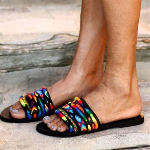 Womens Fashion Color Flat Sandals