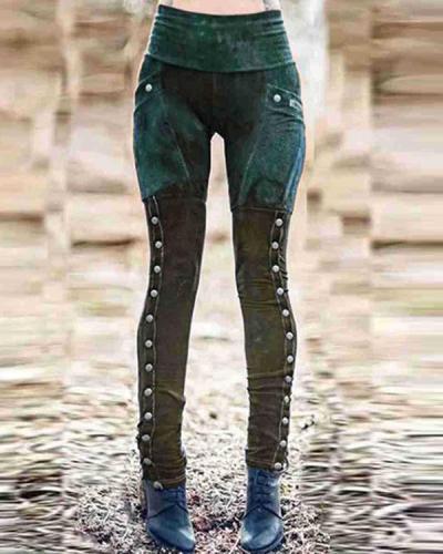 Women's Casual Sheath Floral-Print Vintage Legging Pants