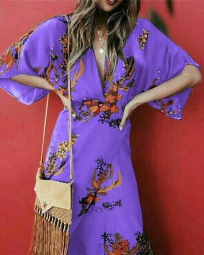 Bohemian V Neck Holiday Split Daily Fashion Maxi Dresses