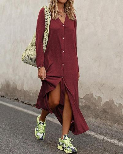 V-Neck Button Embellishment Solid Color Long Sleeve Dress