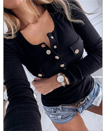 Solid Color Knitted Button Blouse