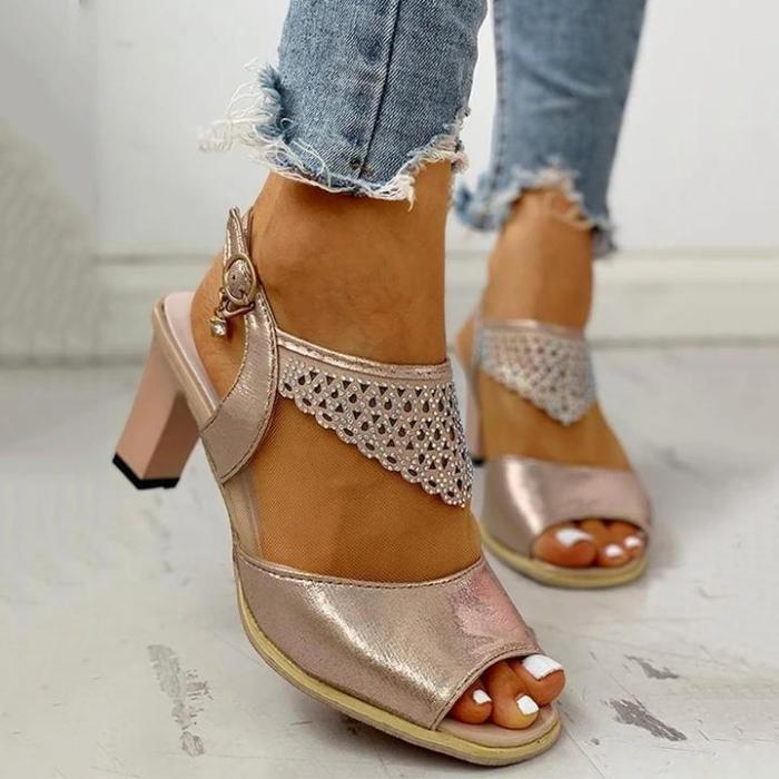 Women Fashion Rhinestone High Heel Buckle Strap Sandals