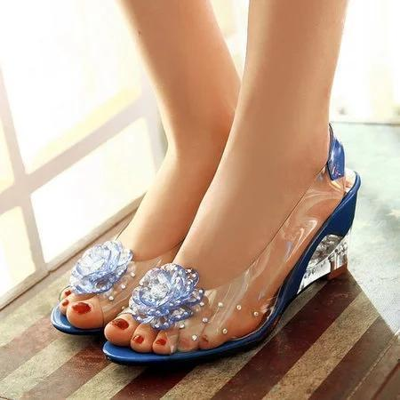 Flower Transparent Wedge Heel Sandals